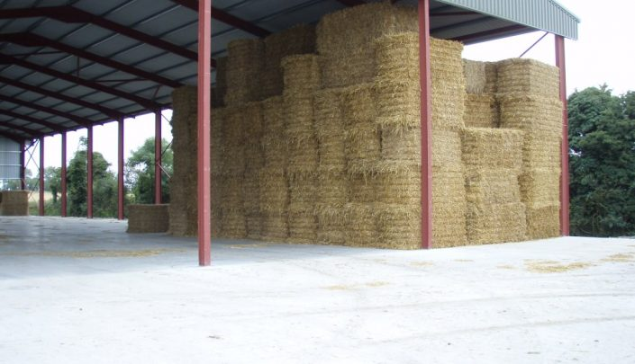 Wheat straw in storage