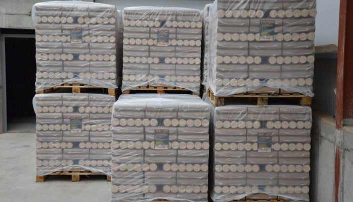 Finished briquettes ready for delivery