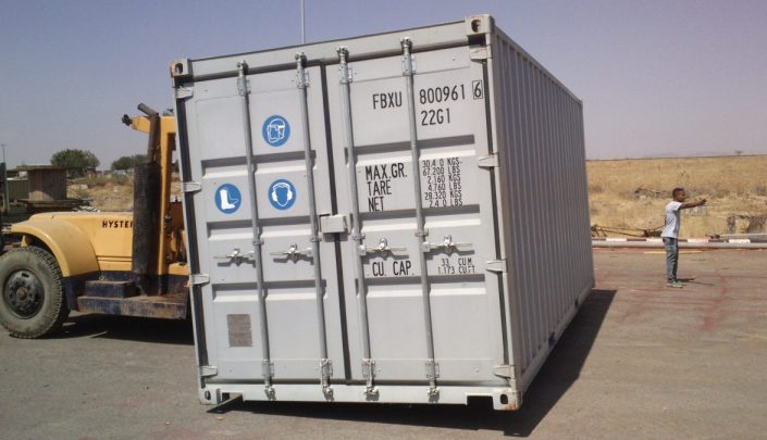 Container being moved into place for first training in Ethiopia