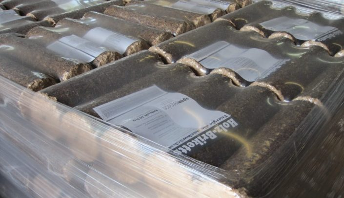 Finished shrink wrapped briquettes