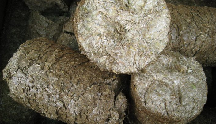 Finished straw briquettes