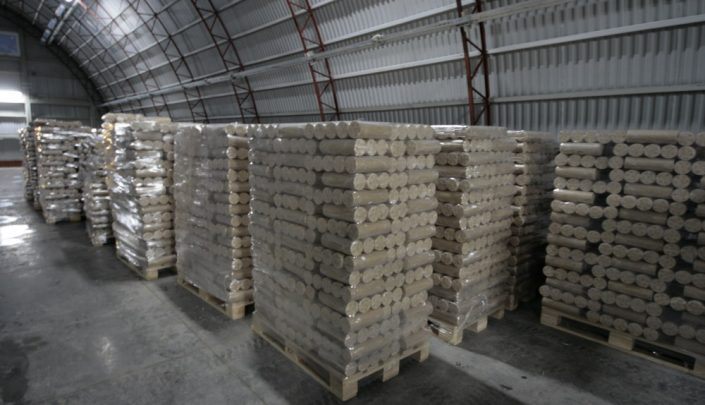 Finished briquettes on pallets