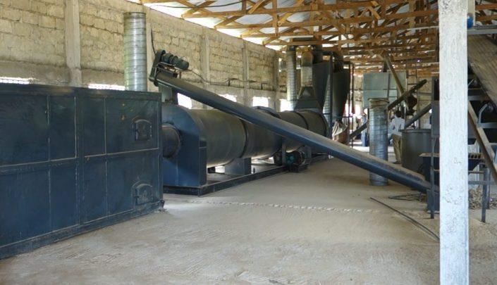 Drum dryer in operation