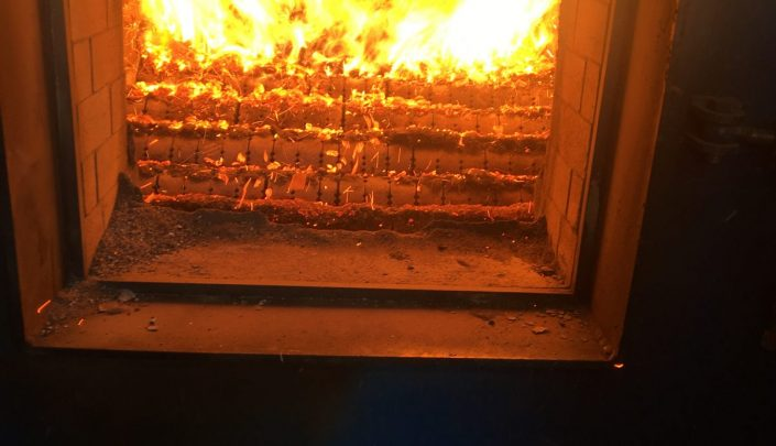 Briquettes burning in the Kolsach furnace